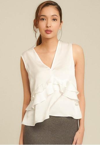 Dressing Paula white Ruffled Satin Top 6F216AA196EA33GS_1