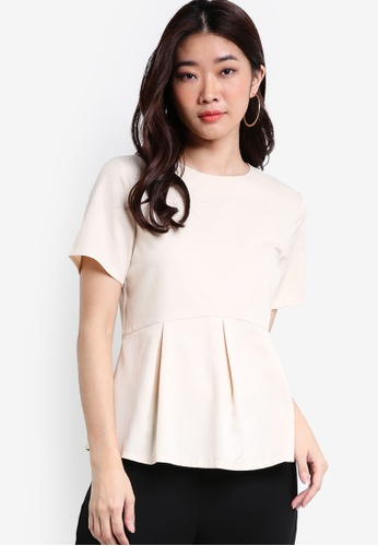ZALORA white and multi Collection Peplum Tee EB95CAA97EB78DGS_1
