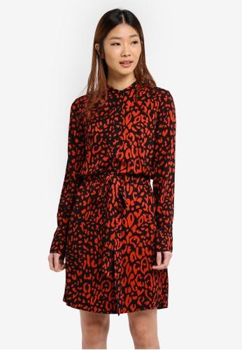 WAREHOUSE red Leopard Print Shirt Dress EE93FAADCA8146GS_1