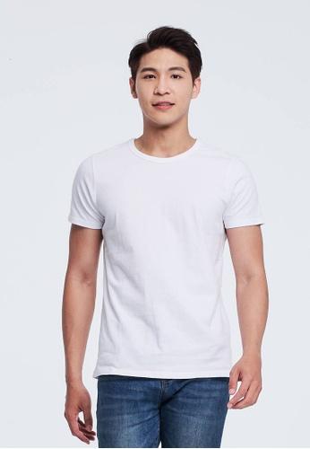 so that's me 白色 簡單素面蜜桃棉圓領短袖男T AF744AAC301BF4GS_1