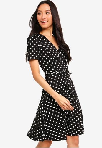 Dorothy Perkins 黑色 Spot Horn Wrap Dress 3A0D0AAA67E16AGS_1
