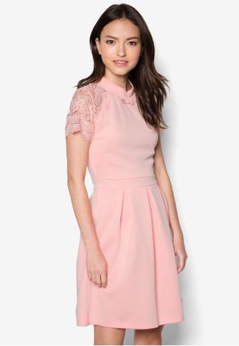 Fei 蕾絲拼zalora 衣服評價接中式領洋裝, 服飾, 洋裝