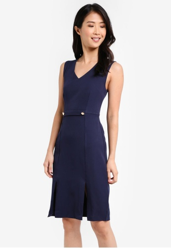 ZALORA navy Bodycon Dress with Slits 8D26DAA541AFE2GS_1