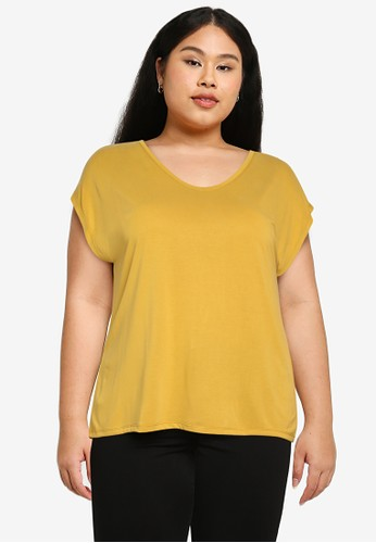 Only CARMAKOMA yellow Plus Size Nicky Short Sleeves Tee 4D5F4AAF810BACGS_1