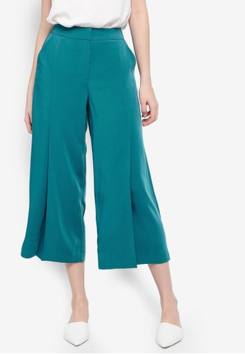 FORCAST green and blue Paula Pleated Culottes 0A446AA333CD66GS_1