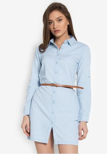 RRJ blue Long Sleeves Denim Collared Dress With Belt RR205AA0KEYXPH_1
