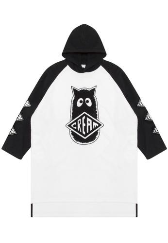 Mini cream black Logo patch hoodie dress A4F15AACD327A8GS_1