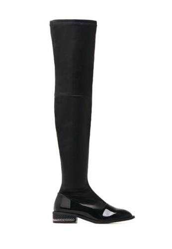 Twenty Eight Shoes 黑色 型格鏈條紋踭彈力過膝貼脚長靴8288 TW446SH2VUT2HK_1