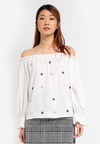 111d3cd493d0eb Dorothy Perkins white Embellished Bardot Top DO816AA0SRCFMY 1