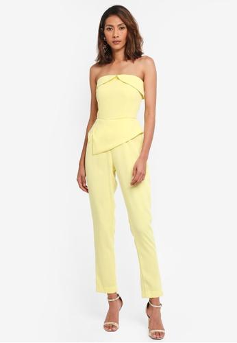 Lavish Alice yellow Woven Bardot and Peplum Striaght Leg Jumpsuit LA457AA0SSR6MY_1