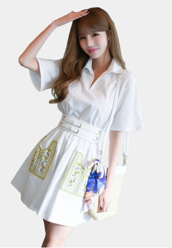Shopsfashion white and yellow Fit and Flare Shirt Dress with Belt SH656AA0GYCFSG_1