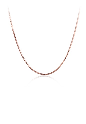 Glamorousky silver Fashion Simple Plated Rose Gold Snake Necklace 98114AC072CBCFGS_1