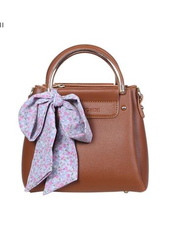 Verchini brown Verchini Scarf-Wrapped Top Handle Bag 216B8AC8845895GS_1