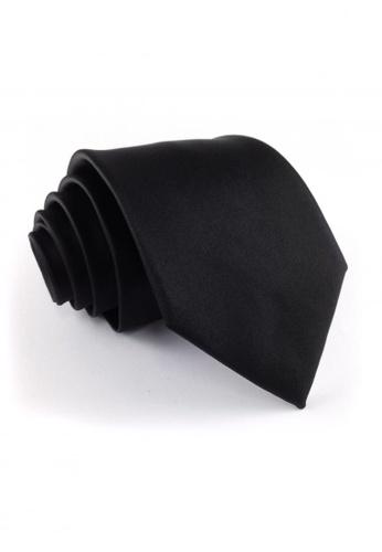 Tieline black Standard Microfiber Solid Necktie TI886AC04UJZPH_1