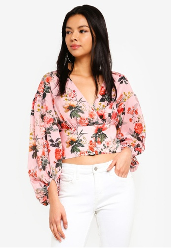 Forever New pink and multi Vera Wrap Balloon Sleeve Crop Top 6D958AA12CA85AGS_1