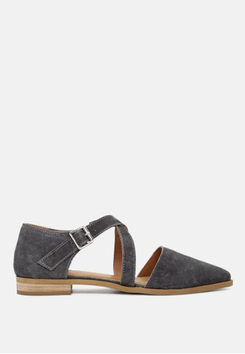 RAG&CO grey Pointed Toe Leather Flat Shoe F6A98SH51334ECGS_1