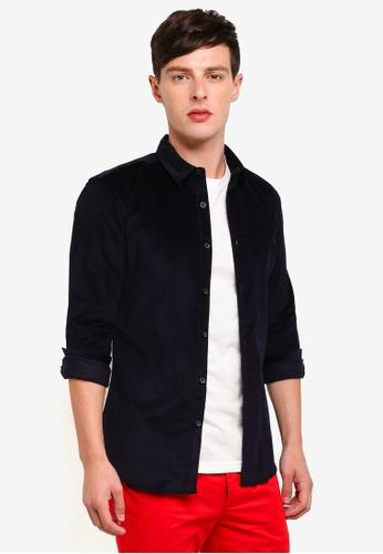 Topman 海軍藍色 燈芯絨修身長袖襯衫 64981AA7A5DF29GS_1