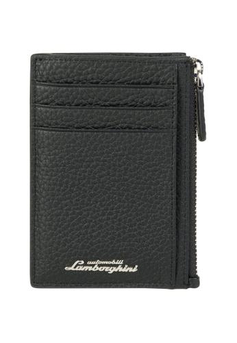 LAMBORGHINI black Automobili Lamborghini® Script Black Calf Leather Wallet and Credit Cards holder 5A497AC69C3D63GS_1
