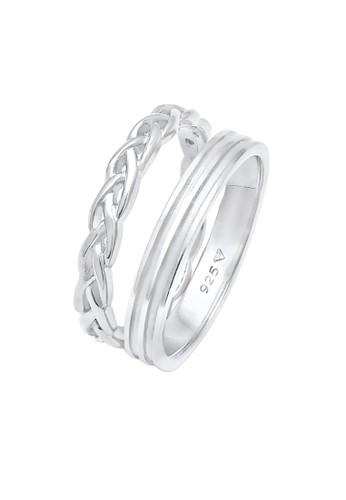 Elli Germany silver Perhiasan Wanita Perak Asli - Silver Cincin Ladies Duo Set Basic Plait Knot Silver BFC4DAC8C53040GS_1