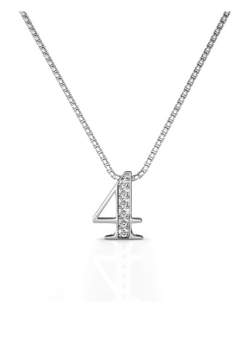Her Jewellery white Her Jewellery Number Pendant (No.4) with Necklace Chain with 18K Gold Plated HE210AC64ZQLSG_1