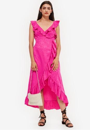 Shop Topshop Jacquard Ruffle Wrap Midi Dress Online On Zalora