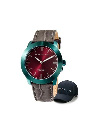 Perry Ellis brown and green Perry Ellis Slim Line Unisex 42mm Quartz Watch 07009-01 with Perry Ellis Cap 250A7AC5768D8BGS_1