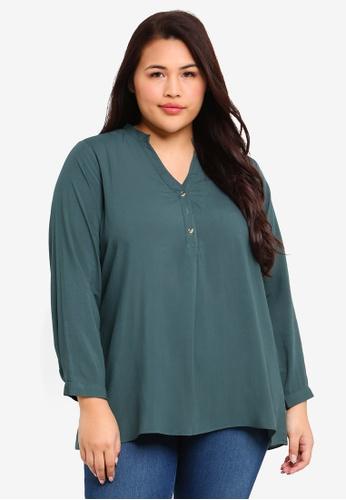 d1a478789c6 Shop Ex otico Plus Size Long Sleeve Mandarin Blouse Online on ZALORA  Philippines