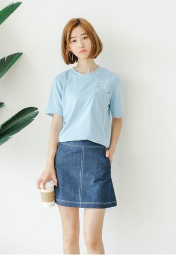 貓咪圖案口袋TEE、 服飾、 T-shirtShopsfashion貓咪圖案口袋TEE最新折價