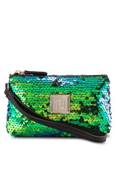綠色亮片手拿包