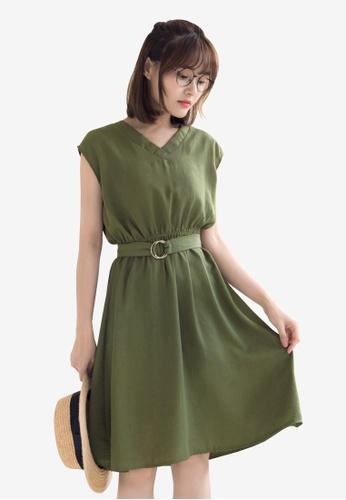 Tokichoi green Belted Basic Dress 04AB8AA1DA599DGS_1