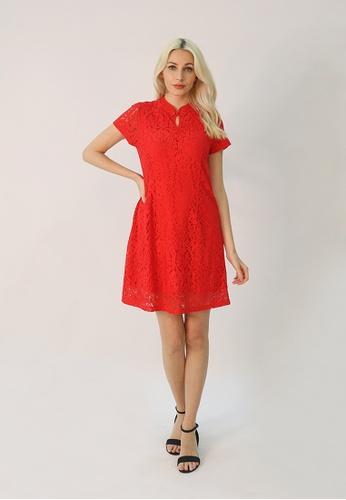 Cheetah red C.Union Lace Cheongsam Dress - CUL-19356 1292FAA3E00992GS_1