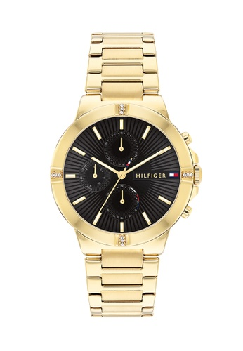 Tommy Hilfiger Watches black and gold Women's Ionic Thin Gold Plated 2 Steel Bracelet and Black Dial Quartz Watch C5593AC924BEDAGS_1