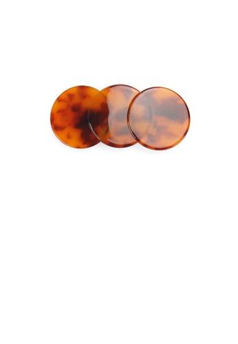 Glamorousky silver Simple and Fashion Red Tortoiseshell Geometric Round Hair Slide B918AAC02ADF32GS_1