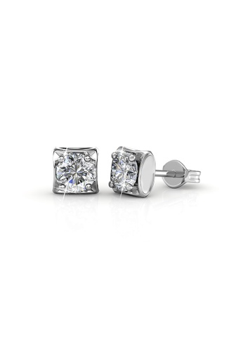 Her Jewellery silver Swarovski® Crystals - Bold Solitaire Earrings (18K White Gold Plated) Her Jewellery HE581AC0R9UBMY_1