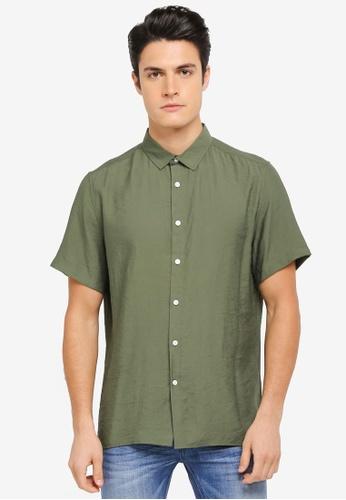 ZALORA green Relaxed Fit Lightweight Short Sleeve Shirt 11861AAB6CE144GS_1
