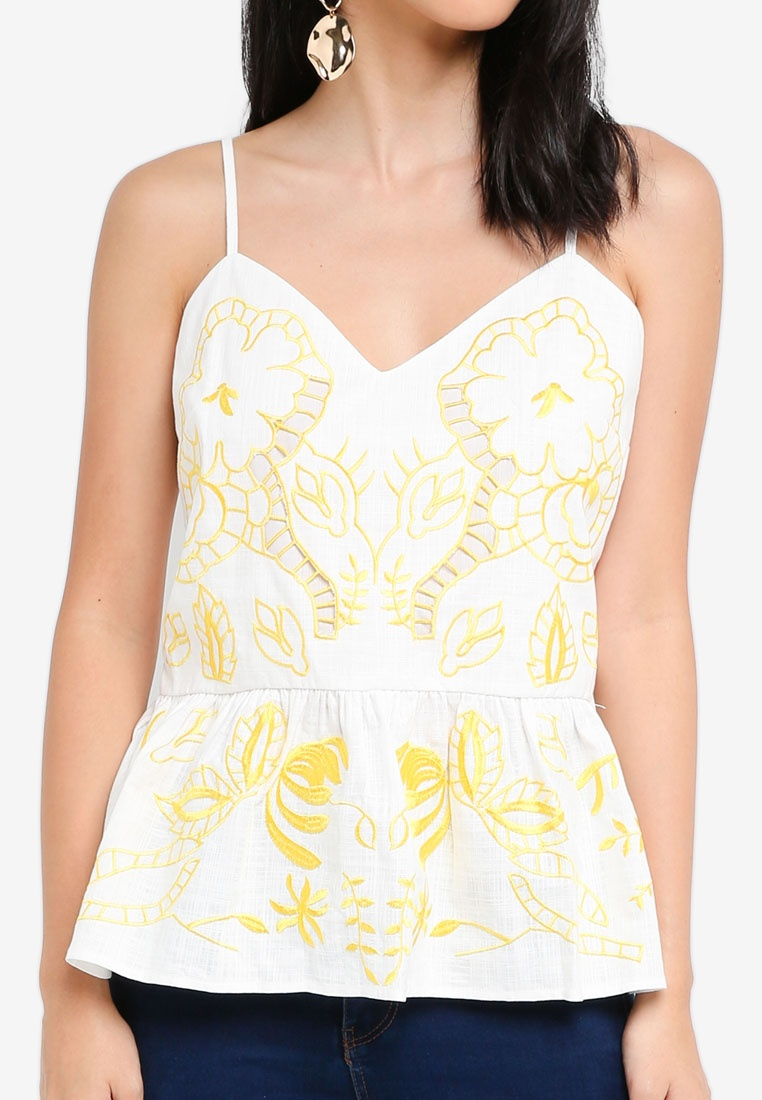 Cami Ava Yellow Island Top Print River Embroidered 1qfwUxzPWH