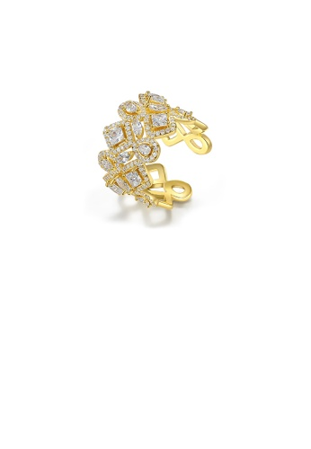 Glamorousky white Fashion Bright Plated Gold Geometric Wide Version Adjustable Opening Ring with Cubic Zirconia FF94CACADCD9F0GS_1