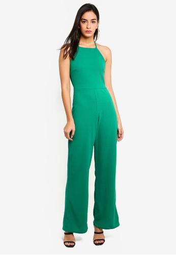 MISSGUIDED 綠色 削肩紋理連身寬褲 AE4E5AAACA1D5CGS_1