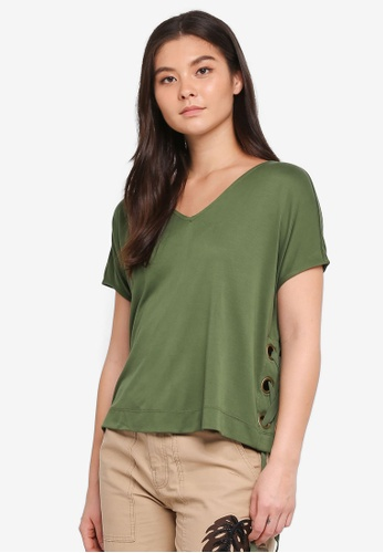 a40a8268b3ba44 United Colors of Benetton green V-Neck Lace-Up T-Shirt 62047AABE9EDECGS_1