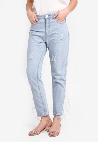 Glamorous blue Slim Jeans With Side Tassels 36E01AAEF9BEC9GS_1