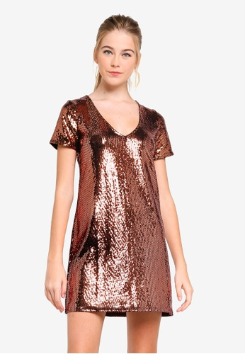 b2e50e35c83 Buy Miss Selfridge Sequin T-Shirt Dress Online on ZALORA Singapore