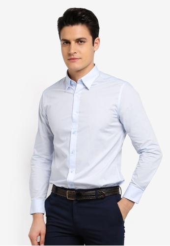 G2000 blue Poplin Long Sleeve Shirt D07E0AACAAC698GS_1