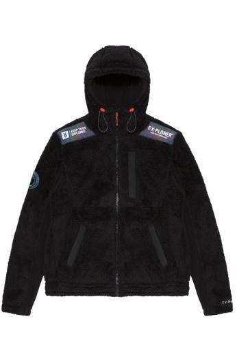 Fingercroxx black Faux fur emblem jacket 4788BAA3D0C5EDGS_1
