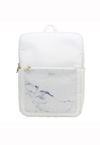 ideer white Kendall White Marble Water-repellent Backpack ID960AC92HPRHK_1
