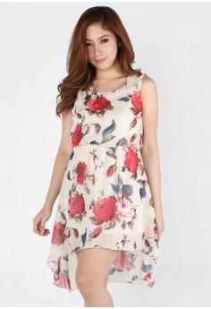 Lovely Bohemian Rose Print Chiffon Dress