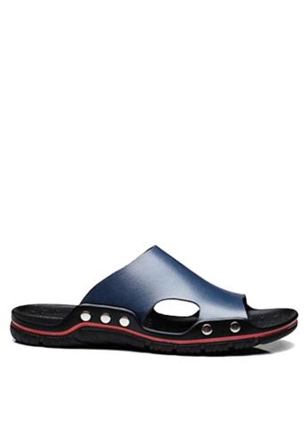 Twenty Eight Shoes navy Basic Cowhide Flip Flops VMS8286 8A294SHD211240GS_1