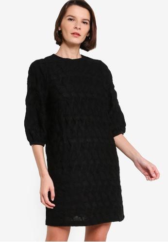 ck Calvin Klein black SMOCKED GEOMETRIC JACQUARD A-LINE DRESS EF9AFAA8A0D765GS_1