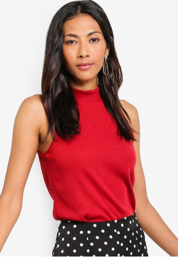 ZALORA BASICS red Basic High Collar Rib Top 020FBAA6034652GS_1