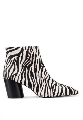 Mango 白色 斑馬紋踝靴 4A4FCSH6DCF2A2GS_1