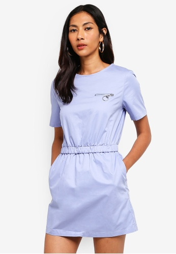 Hopeshow blue T-Shirt Dress With Elastic Waistline 3ED5CAA2E7D869GS_1